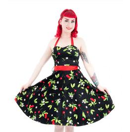 H & R London Black Cherry Halter Dress Cherries Pin Up Rockabilly XS SM NEW
