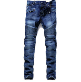 Men's Jeans Motorcycle Folds High Street Ripped Stretch Trousers