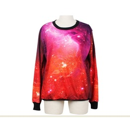 Red Galaxy Magic Print Fashion Hoodie Sweater