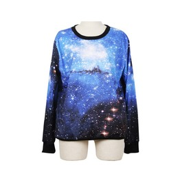 Blue Star Galaxy Magic Print Fashion Hoodie Sweater