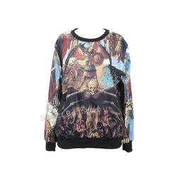 Retro Skull Punk Print Fashion Hoodie Sweater