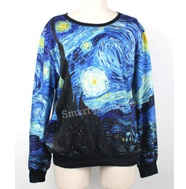 Van Gogh Starry Night Print Hoodie Sweater