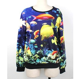 Amazing Undersea World Print Hoodie Sweater