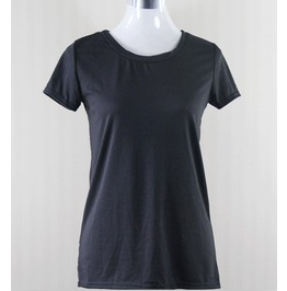 Pure Black Back Pierced Women Fashion Tee