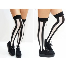 B&W Vertical Striped Thigh High Stockings/ Socks