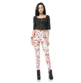 Blood Drop Print Punk Leggings Pants Christmas
