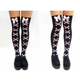 Pink Bone Pastel Goth Knee High Socks/ Stockings