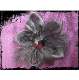 Hair Clip Feathers Satin Stone