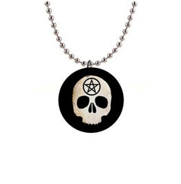 Pentacle Skull Button Pendant