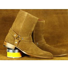 Men's Brown Suede Boots, Bespoke Dress Designer Ankle Madrid Straps Boots