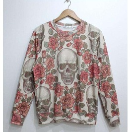 Floral Skull Print Unisex Fashion Sweater