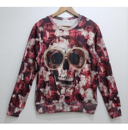 Red Skull Print Unisex Fashion Sweater