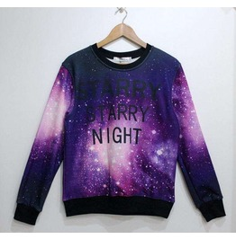 Purple Galaxy Starry Night Print Unisex Fashion Sweater