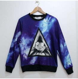 Blue Galaxy Print Unisex Fashion Sweater