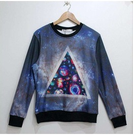 Galaxy Style Triangle Print Unisex Fashion Sweater