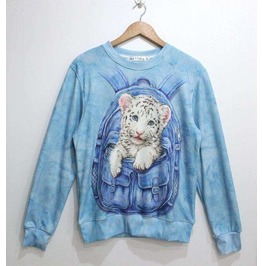 Cute Leopard 3 D Print Unisex Fashion Sweater