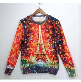Eiffel Tower Oil Painting Print Unisex Fashion Sweatshirts