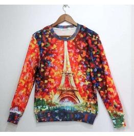 Eiffel Tower Oil Painting Print Unisex Fashion Sweatshirts
