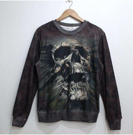 Dark World Skull Print Unisex Fashion Sweater