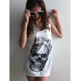 Skull Wear Crown Goth Punk Pop Art Rock Tank Top M