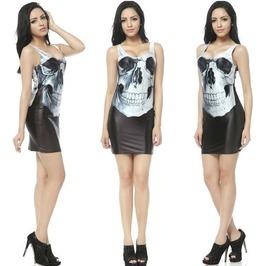 Vividly Printed Skull Stretchy Sleeveless Minidress