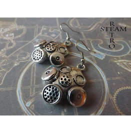Silver Cyberpunk Gasmask Earrings Cyber Jewellery
