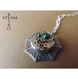 Swarovski Emerald Steampunk Necklace Steamretro