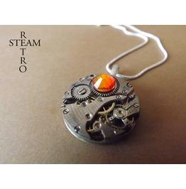 Watch Mechanism Swarovski Fireopal Steampunk Necklace
