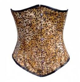 Leopard Print Polyester Waist Cincher Steel Boned LONG Underbust Corset