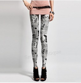 Fashion Newspaper Print Women Leggings Black Friday