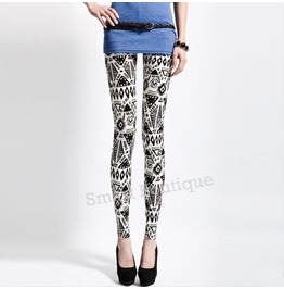 Black White Abstract Pattern Women Leggings