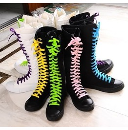 Black Lace Punk Gothic Sneaker Boots Knee High