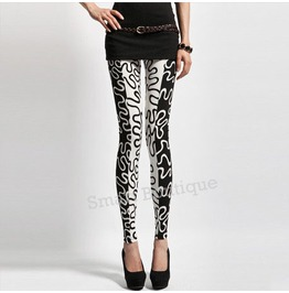 Black White Wave Pattern Women Fashion Leggings