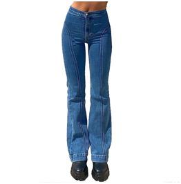 Retro Women's Pants Mid-rise Blue Straight-leg Jeans Casual Pants