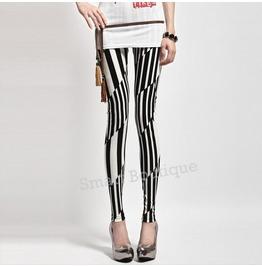 Black White Abstract Pattern Fashion Women Leggings