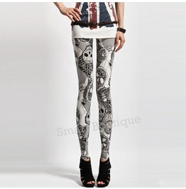 Gothic Skull Print Fashion Women Leggings