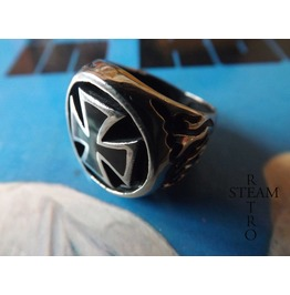316 Hardened Stainless Steel Biker Iron Cross Ring