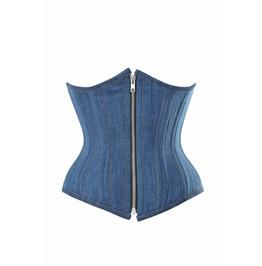 Blue Denim Zipper Opening Front Double Bone Waist Cincher Underbust Corset