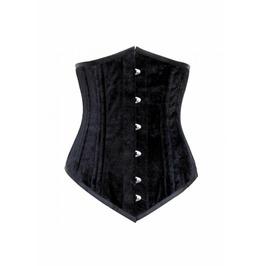 Black Velvet Gothic Double Bone Steel Busk Opening LONG Underbust Corset