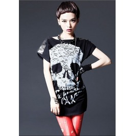 Womens Metallic Stud Shoulder Skull Print Tshirt