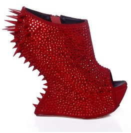 Womens Red Rhinestone Spiked Platform Heel Less Wedge Boots Size 4 To 11