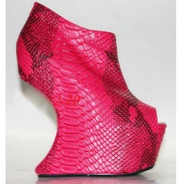 Womens Pink Snakeskin Leather Platform Heel Less Wedge Boots Size 4 To 11