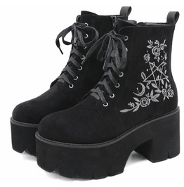 Gothic Embroidered Suede Chunky Heels Lace up Boots