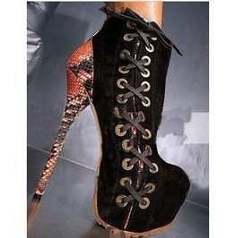 Womes Snakeskin Heel Lace High Heel Boots Size 4 To 11
