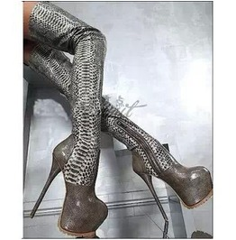 Womes Silver Snakeskin Thigh High Platform Heel Boots Size 4 To 11