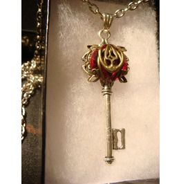 Ruby Red Elven Key Necklace #112