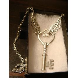 Heart Key Wings Necklace Antique Silver