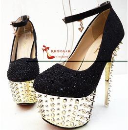Womens Black Rhinestone Silver Spiked Platform Pump Heels Size 4 To 10