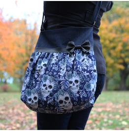 Blue Denim Skulls and Flowers Tote Bag and Faux Leather Bow by Loli.