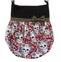 Black, Red Wine Skulls and Flowers Tote Bag and Kaki Bow by Loli Rockabilly